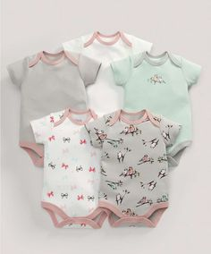 Bodysuits (5 Pack) Birds Print - 3 For 2 Baby Basics - Mamas & Papas