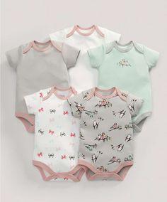 Bodysuits (5 Pack) Birds Print - 3 For 2 Baby Basics - Mamas & Papas