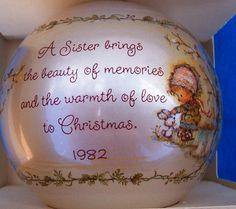 1982 Hallmark Glass SISTER ORNAMENT by WHISTLESTOPTRAINSHOP, $14.00