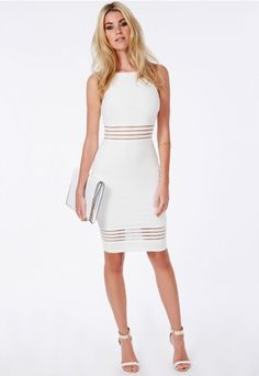 Strappy Mesh Detail Midi Dress White - Dresses - Midi Dresses - Missguided | Ireland