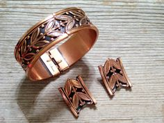 Vintage RENOIR Copper Arts and Crafts Style Floral by TheCopperCat