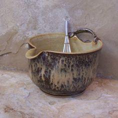 Love this Batter Bowl! Burnt Iron and Straw Yellow Stoneware Ceramic by montezumamudd, $52.00