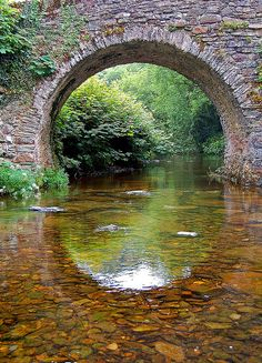 Calm waters Lorna Doone country, Exmoor National Park, on the Somerset/Devon border. Old Bridges, Beautiful World, Beautiful Places, Devon And Cornwall, British Countryside, Dartmoor, Covered Bridges, Beautiful Landscapes, Places To See