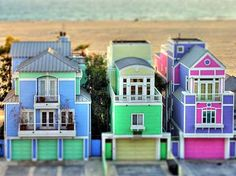 The ice cream colors of these beach houses make them look like doll houses.