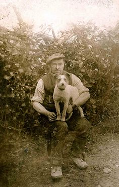 Vintage Photo:  A man and his beloved Jack Russell Terrier - (Libby Hall Dog Photo Collection)