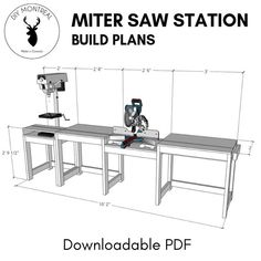 Miter Saw Station (plans Available): 10 Steps (with Pictures) diy beginner diy pallet diy projects diy rustic diy woodworking Woodworking Jig Plans, Woodworking Workshop, Easy Woodworking Projects, Woodworking Furniture, Diy Projects, Woodworking Techniques, Woodworking Shop Layout, Wood Furniture, Project Ideas