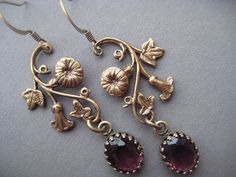 Art Nouveau Earrings  Morning Glory Flower by SilverTrumpetJewelry For Kel for the wedding