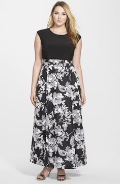 Alex Evenings Print Skirt A-Line Gown (Plus Size) available at #Nordstrom