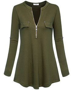 YaYa Bay Casual Blouses Fashion 2XL Army Green Long Sleeve Zip Up Empire Waist Pleated Tunic Blouses Shirt Flowy Trendy Elegant Latest Tunics Blouses >>> Visit the image link more details. (This is an affiliate link)