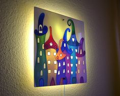 Children Wall Lights Fairytale City Wall Lamp Children Room Wall Lamps, Wall Lights, Led Panel, Wonderful Picture, White Lead, Fairytale, Kids Room, Hand Painted, City