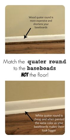 Wood or white quarter round? Best Flooring, Plank Flooring, Flooring Ideas, Home Renovation, Home Remodeling, Home Id, Floor Trim, Home Upgrades, Living Room Grey