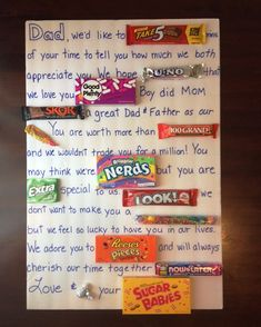 Father's Day Candy Card fathers day party ideas, grandparents day classroom activities, valentines day gifts for dad to be Candy Birthday Cards, Dad Birthday Card, Candy Cards, Birthday Gifts, 90th Birthday, Father Birthday, Happy Birthday, Diy Gifts For Dad, Diy Father's Day Gifts