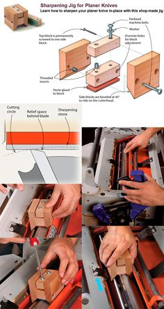 ❧ Sharpening Jig for Planer Knives. Learn how to sharpen your planer knive in-place with this shop-made jig. #finewoodworking