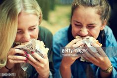 Stock Photo : Tucking into some tastiness