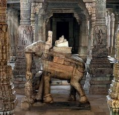 Elephants play a big role in the architecture of Jain temples. At the Chaumukha temple, several elephants can be seen both as statues…