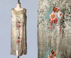 RARE Couture 1920s Dress / Vitaldi Babani 20s Gold Metallic Lamé Brocade / Floral Embroidery / Japonisme