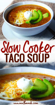 This easy slow cooker taco soup is delicious and simple to make, perfect for weeknight meals and freezable for having a meal on a busy day! Slow Cooker Taco Soup | Crockpot Taco Soup | Mexican #slowcooker #crockpot #tacosoup #weeknightdinner #dinner #soup