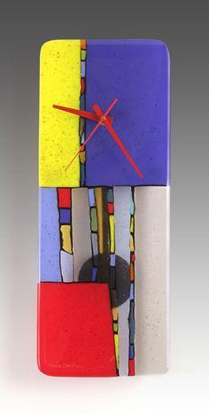 Nina Cambron Studio - Primary Colors Fused Glass Pendulum Clock, $235 (http://www.ninacambron.com/primary-colors-fused-glass-pendulum-clock/)