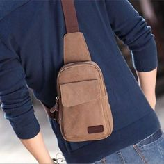 Men's Small Brown Canvas Shoulder Travel Sports Hiking Crossbody