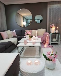 30 Incredibly Charming Pink Living Room Design Ideas - Home Bigger Romantic Living Room, Living Room Decor Cozy, Living Room Grey, Home Living Room, Living Room Designs, Bedroom Decor, Wall Decor, Blush Pink Living Room, Sitting Room Decor