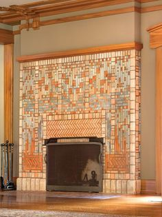 best images about craftsman style tile designs fireplace tiles Fireplace Art, Craftsman Fireplace, Marble Fireplaces, Fireplace Surrounds, Fireplace Design, Fireplace Seating, Concrete Fireplace, Fireplace Candles, Cottage Fireplace