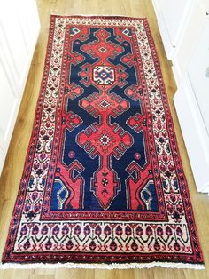 Persian Rug - Viss Heriz - 3 x 7 - Vintage Early 1900s - Geometric Patterns - Blue and Red by avelynlane on Etsy