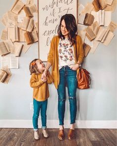Date night with my mini me! Matching mustard yellow sweaters for the win. - Date night with my mini me! Matching mustard yellow sweaters for the win. Mustard Yellow Paints, Mustard Yellow Decor, Mustard Yellow Cardigan, Mustard Yellow Dresses, Mustard Sweater, Yellow Cardigan Outfits, Sweater Outfits, Mother Daughter Outfits, Mommy And Me Outfits