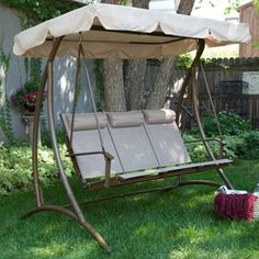 Solano 3 Person Textilene Canopy Swing with Headrests - Sand