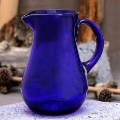 Shop for Handmade Glass Cobalt Charm Blue Pitcher (Mexico). Get free delivery On EVERYTHING* Overstock - Your Online Kitchen & Dining Outlet Store! Cobalt Glass, Amber Glass, Blue Dishes, Glass Pitchers, Fenton Glass, Antique Glass, Recycled Glass, Hand Blown Glass, Shades Of Blue