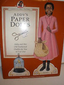 Pleasant Company Addy's Paper Dolls Cut American Girl Good Used Condition
