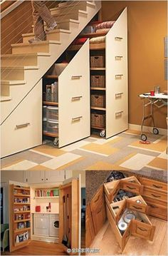 I've seen this before on a home improvement show, and think it is a great way to save and use space.