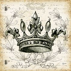 'French Laurel Wreath Crown' by Tre Sorelle Studios Graphic Art Print on Wrapped Canvas East Urban Home Shabby, Painting Prints, Art Prints, Canvas Prints, Etiquette Vintage, Graphics Fairy, Decoupage Vintage, Decoupage Ideas, Vintage Labels