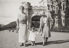 Unpublished childhood pictures of the Queen released to commemorate Prince George's birth ~  Queen Mary and the Duchess of York with Princess Elizabeth at Balmoral, 1927