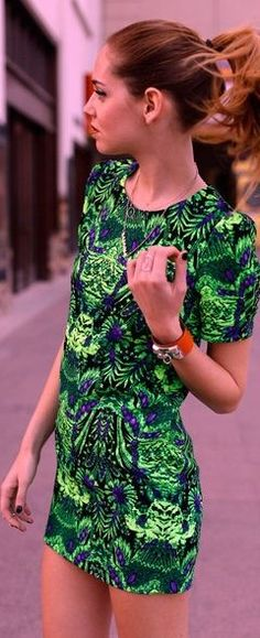 Green Embroidered Dress #shortdress #stunning #love #color