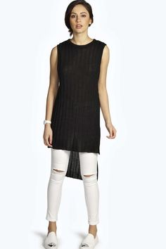 MOLLY RIB KNIT SLEEVELESS SIDE SPLIT JUMPER #artofknitting #knitting #knit #fashion #inspiration