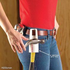 PVC Hammer Holder Tube Pvc, Garage Atelier, Pex Plumbing, Pvc Pipe Projects, Wood Projects, Kitchen Sponge, Tool Storage, Garage Storage, Diy Garage