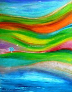 Marzenia cd dalszy, 2011  Adriana Karima  Rozmiar oryginału 80 cm x 100 cm   Poszukiwanie domu, spokojnej przystani dla zakochanych.   Obraz w kolekcji prywatnej  Dostępne reprodukcje obrazu Koloryduszy.com