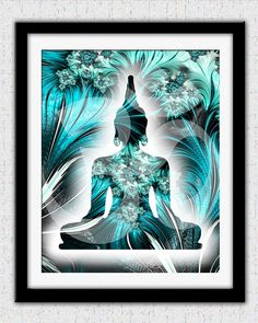 Teal Buddha print teal blue Buddha artteal by theartofthematrix