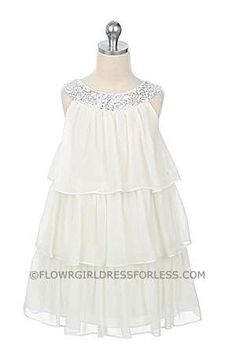 Flower Girl Dress Style 3707- Knee Length, 3 Tier Chiffon Dress with Sequin Top
