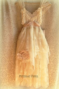 Garden Beach Rustic Wedding Dress by Petticoat Pistol. idk, I would love this dress just for a really fancy occasion.