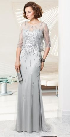 VM Collection 70925 Mother of the Bride Dress with Sheer Bolero - French Novelty $500