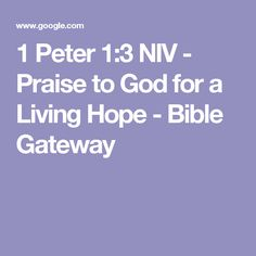 1 Peter 1:3 NIV - Praise to God for a Living Hope - Bible Gateway