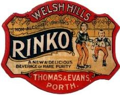 Rinko has always been one of my favourite old soda labels. Hailing from South Wales Rinko features two young boys wearing roller skates and enjoying themselves down at the rink - hence the name. No doubt a glass or two of soda would be very welcome after zooming around on their skates. Fabulous dating to early 1900s and known to have been used on the old style codd bottles. Rinko is .... another vanished drink!