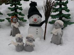 Muizen in de sneeuw