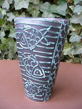 Geza Gorka Fish Patterned Vase Gorka Art Pottery Hungarian Ceramics