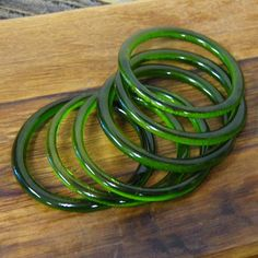 Glass bangles made from recycled Champagne bottles - nice!