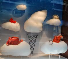 small fluffy clouds at Hermés Paris, pinned by Ton van der Veer Window Display Design, Shop Window Displays, Store Displays, Retail Windows, Store Windows, Summer Decoration, Vitrine Design, Sogetsu Ikebana, Decoration Vitrine