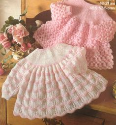 Knit Baby Angel Tops Pattern Baby Dress Sweater Lace matinee jacket pinafore o… Baby Knitting Patterns, Baby Cardigan Knitting Pattern, Baby Clothes Patterns, Baby Patterns, Dress Patterns, Pattern Dress, Free Knitting, Knit Baby Dress, Knitted Baby Clothes