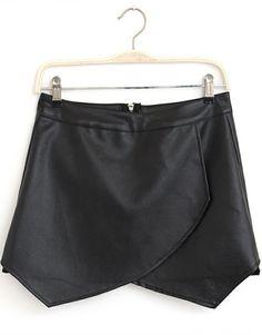 Black Zipper Asymmetrical PU Leather Shorts - Sheinside.com
