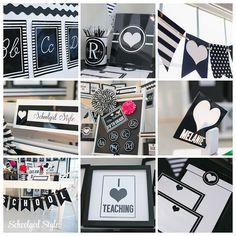 Black, white, stripe, polka dot classroom theme and decor ~Classroom decor by Schoolgirl Style www.schoolgirlstyle.com